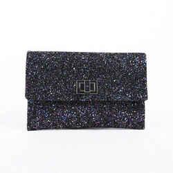 Anya Hindmarch Valorie Clutch Bag Purple Multicolor Glitter Leather