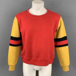 MARNI Size S Red & Mustard Color Block Cotton Crew-Neck Sweatshirt