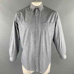 Vintage V2 By Versace Size M Gray Cotton Button Up Patch Pocket Long Sleeve Shirt