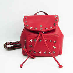 Jimmy Choo SUKI Women's Leather Studded Backpack Red Color BF524209