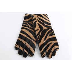 Burberry Zebra print Calf Hair and Leather Gloves