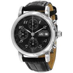 Montblanc Men's Star Black Leather Band Automatic Watch 08451