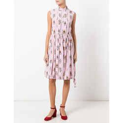 New Prada Pink Robot Print Drawstring Hem Sleeveless Resort Dress