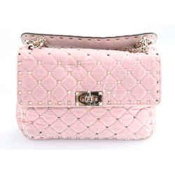 Valentino Rockstud Spike Velvet Shoulder Bag - Rose Quartz