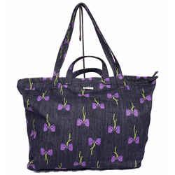 New $650 Miu Miu Blue Denim Purple Bow Large Shopper 2-way Oversize Tote Bag