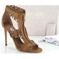 Jimmy Choo Brown Laser Cut Out Megan T Strap Zip Top Sandals Size 40 10 Nib $975