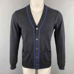 Ps By Paul Smith Size S Navy Cotton Contrast Trim  Buttoned Cardigan Sweater