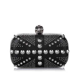 Vintage Authentic Alexander McQueen Studded Britannia Skull Leather Clutch Bag