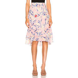 $360 Nwt See By Chloe Pink 'flamingo' Floral Printed Midi Skirt Sz 2