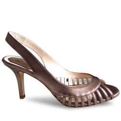 New $752 Christian Dior Whisper Slingback Sandals - Bronze Metallic - Size 37.5