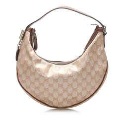 Beige Gucci GG Crystal Hobo Bag