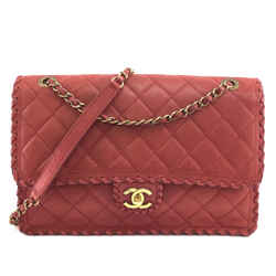 Chanel Whipstitch Flap Bag Cc Red Gold Hardware Calfskin Leather