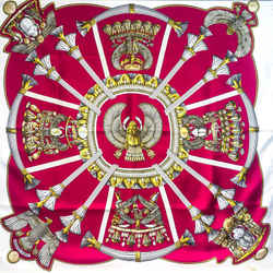 Hermes Silk Scarf Egypte In Bright Fuchsia Pink And