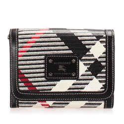 Vintage Authentic Burberry Black Canvas Fabric Nova Check Wallet United Kingdom