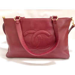 Chanel Vintage Cherry Red Caviar Leather Tote Bag
