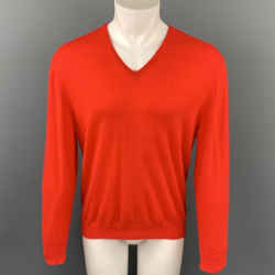 ERMENEGILDO ZEGNA Size M Red Cashmere V-Neck Pullover Sweater