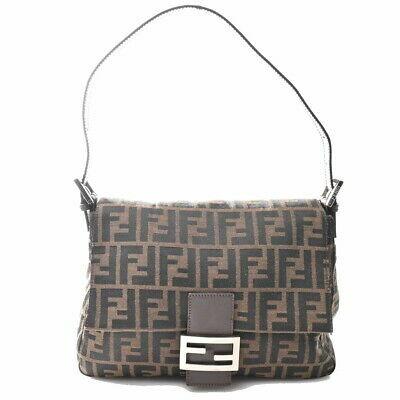 Auth Fendi Zucca Mamma Bucket 2018 26325 089 Women's Canvas Shoulder Bag Brown