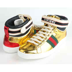 Gucci Metallic Snakeskin New Ace High Top Sneakers