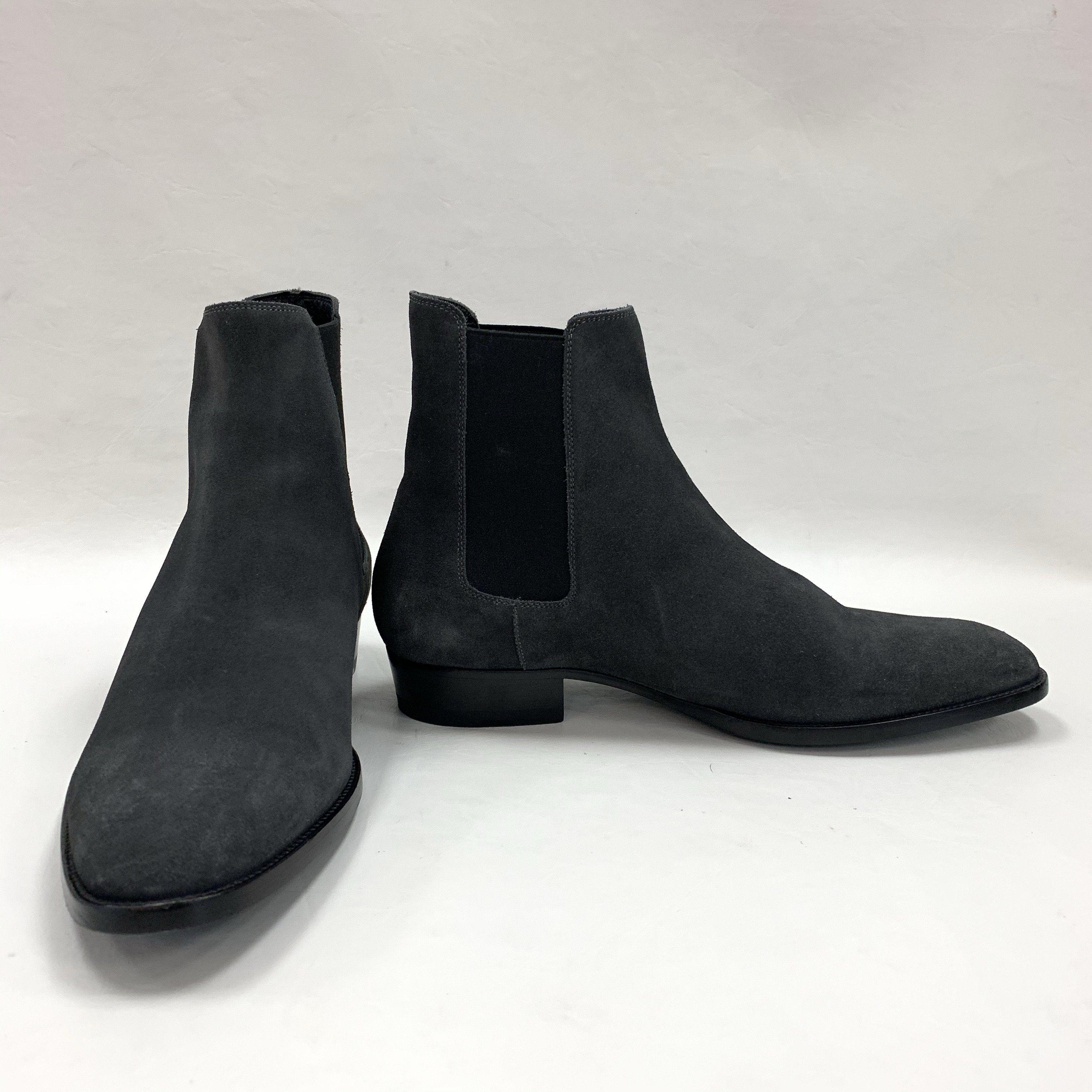 Grey Suede Wyatt Chelsea Boots Sz 41.5