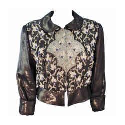 GIORGIO ARMANI Bronze Jacket with Beaded Embroidery Size 44