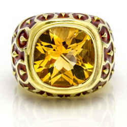 Citrine Red Enamel Statement Ring in 14k Yellow Gold