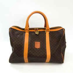 Celine Macadam Unisex PVC,Leather Boston Bag Beige,Dark Brown BF534239