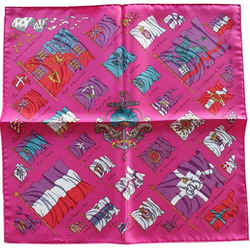 HERMES Pavois Pink Vintage Silk Scarf One2One Collaboration