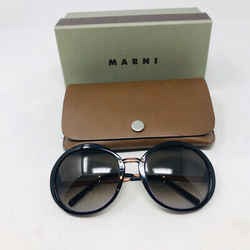 Marni Brown Round Plastic Bronze Metal Arms Sunglasses 3-388-92319