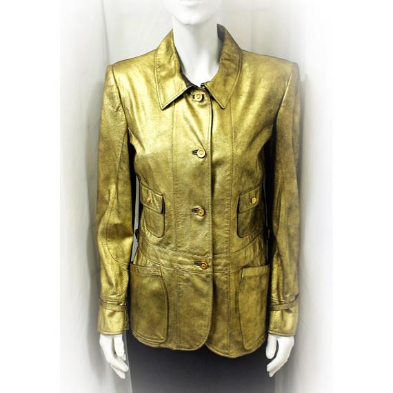 Bottega Veneta Antique Gold Bronze Metallic Jacket Leather 46 6 S
