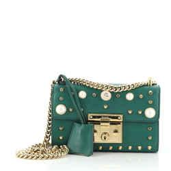 Padlock Shoulder Bag Embellished Leather Small