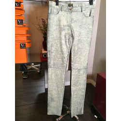 Plein Sud Size 8 Long Black Beige Cracked Leather Pants Nwt 2400-305-11020