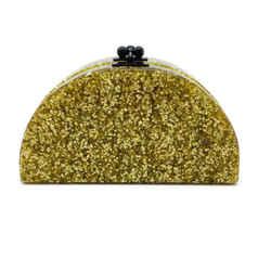 Edie Parker Half Moon Gold Glitter Acrylic Clutch