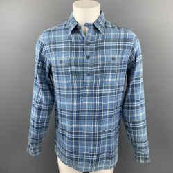 RRL by RALPH LAUREN Size M Blue Plaid Cotton Button Up Long Sleeve Shirt