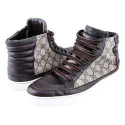 Gucci Brown Gg Supreme Canvas High-top Boots Size: 11
