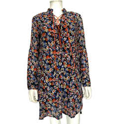 Rag & Bone Navy Isla Floral Lace-up Dress Size Extra Extra Small