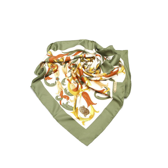 Vintage Authentic Hermes White  with Multi Silk Fabric Printed Scarf France