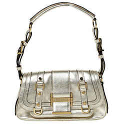 Versace Gold Metallic Leather Buckle Flap Shoulder Bag