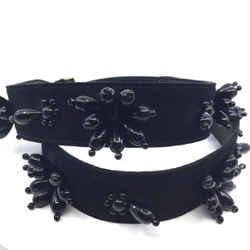 Prada Beaded Flower Nero Black Suede Leather Adjustable Shoulder Strap 1ty030