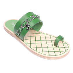 Chanel - New - Toe Ring Sandals  Green Leather Cc Chain Strap - Us 5 - 35