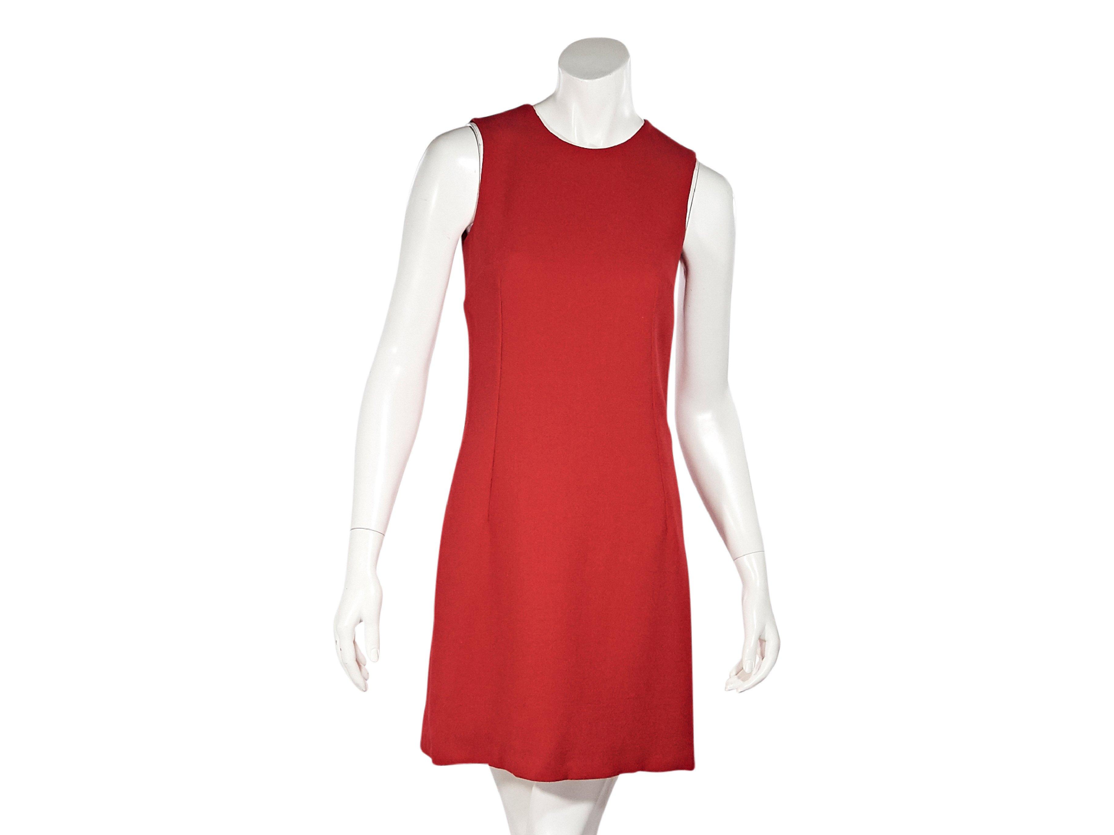 minimal bright red cocktail dress 80s red wool sheath dress small long sleeve minimalist dress red midi dress cherry red party dress