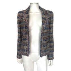 Chanel Tweed Blue Brown Bronze Metallic Woven Striped Open Blazer Jacket Sz 4/40