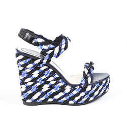 Christian Dior Sandals Blue Woven Braided Platform Wedge SZ 39.5