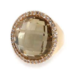 Roberto Coin Quartz Diamond Doublet Ring in 18K Yellow Gold 0.95 ctw