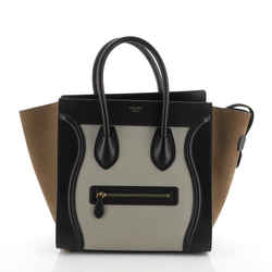 Tricolor Luggage Bag Suede Mini