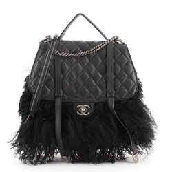 Paris-Dallas Double Flap Bag Quilted Calfskin and Fur Large