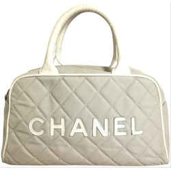 Chanel Quilted Grey Boston Sports Logo 7cc61