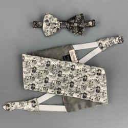 Vintage GIANNI VERSACE Silver & Black Jacquard Silk Cummerbund & Bow Tie Set