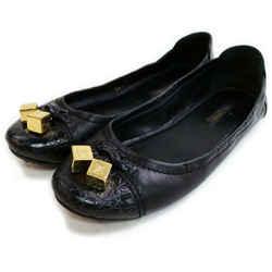 Louis Vuitton Size 36.5 Womens Black LEather Gold Dice Cube Ballerina Flats 862898