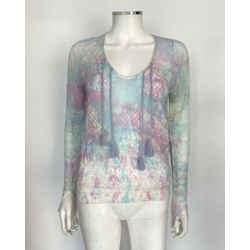 $298 Zadig & Voltaire Multi-color 'delvy Co Splash' Sweater Sz Xs