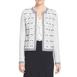 New St. John Boutique White & Black Tweed Cropped Jacket Fringe Bow 10